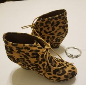 Suede Leapard Print Wedge Booties